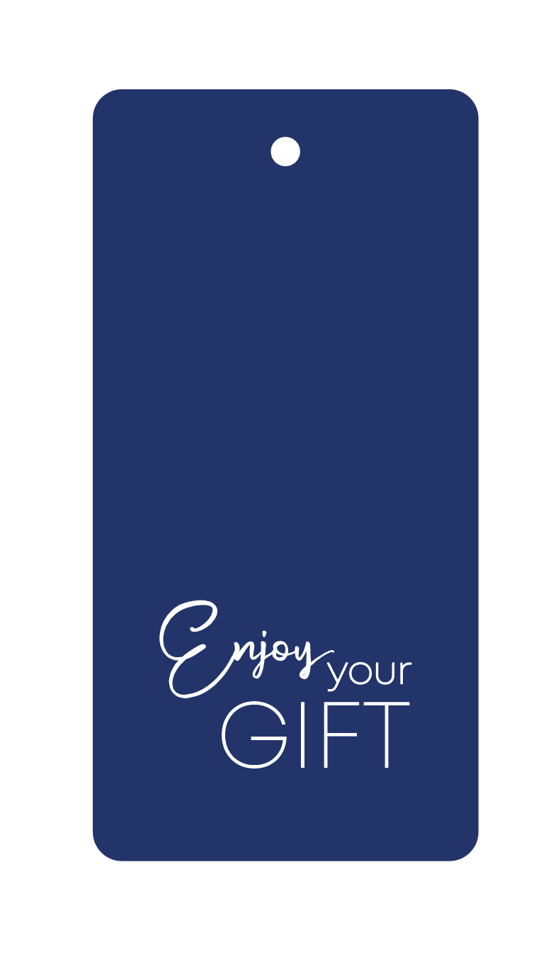 label ompak enjoy your gift blue